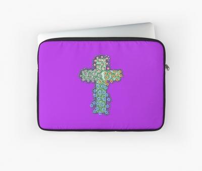 Kreuz mit Blumen und Ranken Laptoptasche
