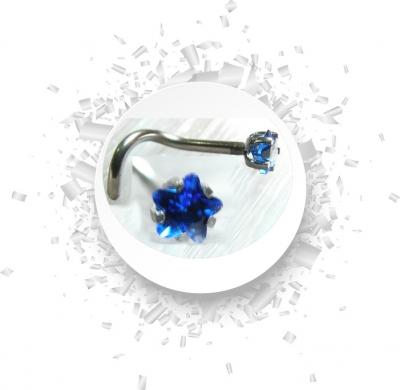 Nasenstecker Gebogen mit Kristall in Blau