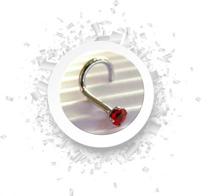 Nasenstecker Gebogen mit Kristall in rot